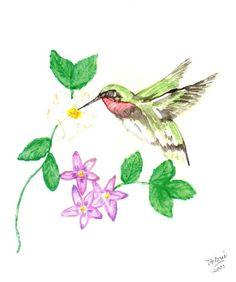 Hummingbird and Flowers Matted Fine Art by ValerieNusbaumAandD