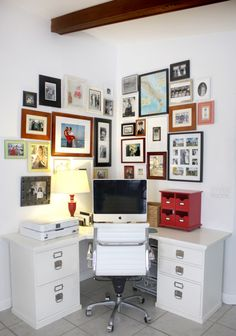 Small home office with photo wall and organization ideas