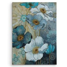 'Blue Denim Garden I' by Carol Robinson Painting Print on Wrapped Canvas by Wexford Home Framed Wall Art, Canvas Wall Art, Framed Prints, Canvas Prints, Watercolor Art, Watercolor Flowers, Online Art Gallery, Flower Art, Painting Prints
