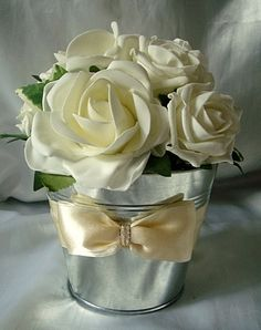 LOVE tin buckets as centre pieces Bucket Centerpiece, Wedding Table Centerpieces, Centrepieces, Flower Centerpieces, Wedding Decorations, Wedding Pins, Wedding Bouquets, Wedding Flowers, Dream Wedding