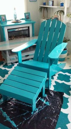 Adirondack chairs in turquoise! Facebook.com/coastalcottageinteriors