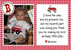 Little Red Wagon Birthday Thank You Photo Card by shopdandi, $10.00