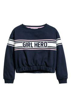 Baskılı Sweatshirt - Koyu mavi - Kids | H&M TR 1