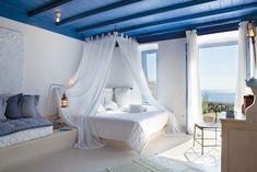 mykono, canopi, dream, white walls, blue ceil