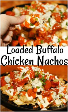 I combined my two favorites- buffalo chicken wings and loaded nachos to create the ultimate game day appetizer- Loaded Buffalo Chicken Nachos ! Buffalo Chicken Fries, Buffalo Chicken Grilled Cheese, Buffalo Chicken Pasta Salad, Healthy Buffalo Chicken Dip, Buffalo Chicken Sandwiches, Buffalo Chicken Dip Recipe, Chicken Fettuccine, Chicken Nachos Recipe, Chicken Sandwich Recipes