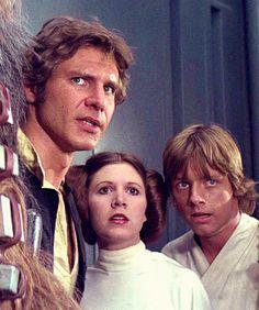 Han Solo, Princess Leia and Luke Skywalker. Han Solo Leia, Han And Leia, Images Star Wars, Star Wars Pictures, Carrie Fisher, Star Wars Cast, Star Trek, Harison Ford, Saga