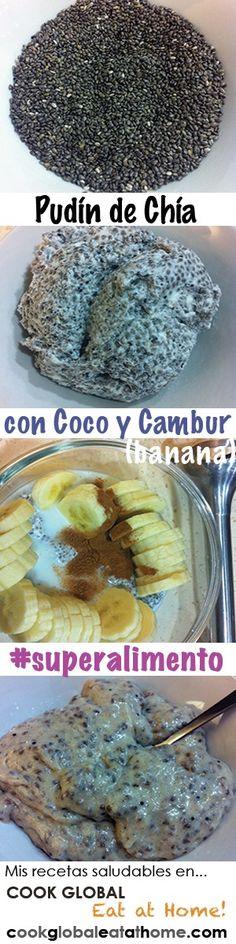 Pudín de Chía con Coco y Cambur (banana) | Un delicioso postre o merienda con muchísima nutrición! La semilla chía es un #superalimento y rico en ácidos #Omega3. COMO HACERLO: Remoja 1/2 taza semillas chía en 3/4 taza leche de coco (durante toda la noche). Licua con 1 cambur (banana) en rebanadas, 1/8 cuch canela, y leche ligera hasta conseguir la consistencia deseada (comienza con 2 cucharadas). Pruébalo con coco rallado! #buenasgrasas #saludable #dieta #tipsaludable #receta #cocina Raw Vegan Recipes, Vegan Foods, Clean Recipes, Healthy Recipes, Organic Coconut Milk, Banana Coconut, Healthy Cooking, Healthy Snacks, Banana Chia Pudding