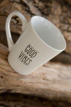 Good vibes - a hand designed mug, inspirational mug, customizable mug, minimal mug, quote mug