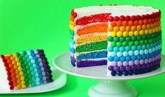 Rainbow Cake with M and M garnish