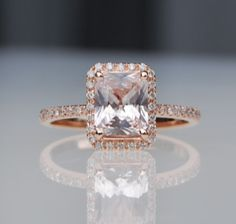 1.26ct Emerald cut white to ice peach champagne sapphire in 14k rose gold diamond ring engagement ring