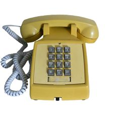 Vintage Phone Yellow 1970's Push Button Western Electric by Bell... (€29) ❤ liked on Polyvore featuring fillers, phones, home, electronics and extras