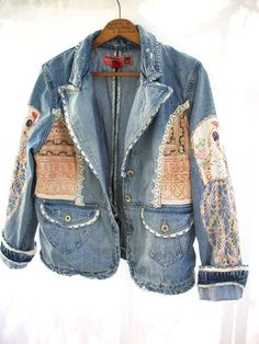 Aged Denim Jacket Vintage Crochet & by AtomicTreasureHunter