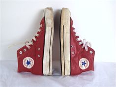 Vintage All Star High Top Red Leather Canvas Chuck Taylor