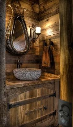 Beautiful rustic cabin powder room - Land's End Development - Get a load of mirror. #WesternHome