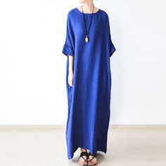 Fine royal blue linen dresses oversize cotton caftans long maxi dressThis unique deisgn deserves the best quality texture. The fabric of this article is soft, comfortable and breathy.Flattering cut. Makes you look slimmer and matches easlily with jeans, leggings stylish pants or skirts. Measurement: One Size:   bust 160cm / 62.4