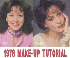 1978 Make-up Tutorial. The warm and natural glossy look is the new vogue. A Vintage makeup lesson for day and evening makeup looks 1970s Makeup Tutorial, 1970s Makeup Disco, 1970s Hairstyles, Makeup Ads, Makeup Lessons, Evening Makeup, Vintage Makeup, Vintage Beauty, Makeup Guide