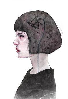 "Tomasz Mrozkiewicz - ""Dead Flower"" | arte, ilustraciones femeninas, art illustration | iconoCero"