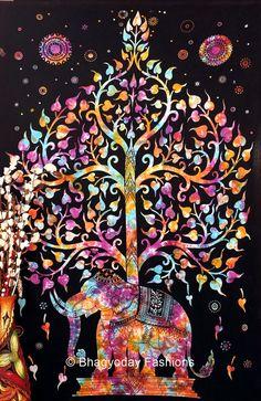 Indian Tree Of Life Psychedelic Throw Tie Dye Hippie Hippy Boho Bohemian Tye Die Hand-Loomed Window Doorway Door Curtain Elephant Throw