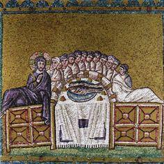 Basilica di Sant'Apollinare Nuovo, Ravenna. Mosaici dell'inizio del VI secolo. Ultima cena. Il periodo di Teodorico