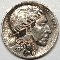 1930 Hobo Nickel Copper Inlay Engraved By Gediminas Palsis Hobo Nickel, Buffalo, Folk Art, Coins, Copper, Carving, Derby, Profile, User Profile