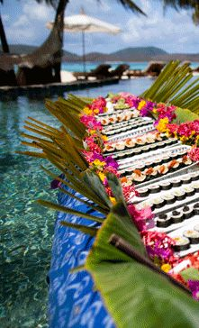 Necker Island - they have a floating sushi bar in da pool. In DA POOL. Wedding Nails For Bride, Bling Wedding, Wedding Cards, Sushi Boat, Decadent Food, Asking Bridesmaids, Sushi Recipes, Spring Wedding Flowers, Tropical Party