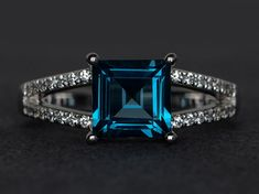 London blue topaz ring silver engagement ring by XCjewelryStudio