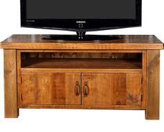 Moss solid wood TV cabinet handmade in the UK from solid reclaimed timber