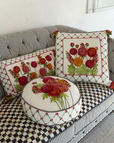 """Create ribbon embroidery pillow on white settee """"Merrifield"""" Pillows by MacKenzie-Childs at Neiman Marcus."""