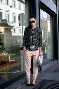 All the Best Street Style Straight From Milan Fashion Week!: A muted palette and bold print mixing.