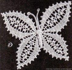Entre hilo y otro: Crochet Butterfly - Crafts: Crochet / uncinetto Crochet Parrot, Crochet Butterfly Pattern, Crochet Diy, Crochet Doily Patterns, Crochet Chart, Thread Crochet, Crochet Motif, Irish Crochet, Crochet Designs