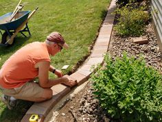 Great brick edging for gardens.  The blocks also make great steps for garden paths in the veggie garden. Drop cardboard beneath them, then cover with soil,  to discourage weeds.
