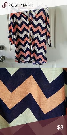 Rue 21 Chevron Long Sleeve Top Peach, navy, white. Necklace not included. Rue 21 Tops Tees - Long Sleeve