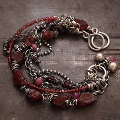 summer chain bracelets • sterling silver  ruby  rough garnet  • link bracelets by ewalompe on Etsy https://www.etsy.com/listing/234332660/summer-chain-bracelets-sterling-silver
