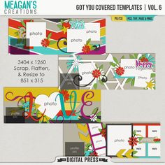 A set of four layered cover photo templates in PSD, TIFF, PAGE and PNGs formats! These templates are made at 3404 x 1260 pixels so that you can scrap your cover photo with your favorite digital scrapbooking kits, flatten it and then resize it down to 851 x 315 pixels for use as your cover photo on Facebook! Add some fun and creative touches to your social media timeline and show off your recent adventures! Fun pennants, multiple photo spots and great stacking make these very eye-catching!