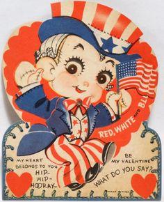 40s Uncle Sam  Diecut Valentine Card