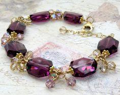 Amethyst Crystal Bracelet Gold Filled Purple Plum by fineheart
