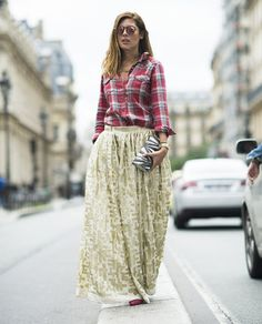 The unexpected came together for a nice pairing in Paris. We loved how this fashion-lover paired a plaid button-up with a glitzy ball skirt.