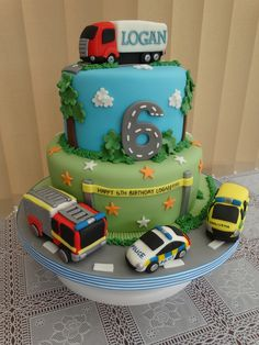 Emergency services vehicle and a lorry cake xmcx Truck Birthday Cakes, Truck Cakes, Cars Birthday Parties, Birthday Ideas, Transportation Birthday, Baby Boy Birthday, 3rd Birthday, Hot Wheels, Cakes For Boys