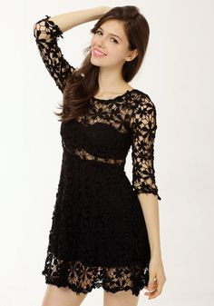 Make this black crochet dress a cocktail-party clothing staple. The breezy floral cutout detailing makes this dress a favorite for effortless styling. It also has a see-through paneling so you can wear a styling tank top underneath if you want. | Lookbook Store Dress