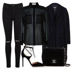 """BLACK SEMI FORMAL"" by kwasheretro on Polyvore featuring Miss Selfridge, MSGM, Yves Saint Laurent, Chanel and Gianvito Rossi"