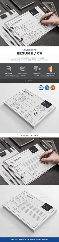 Landscape Resume Template PSD, Vector EPS, AI Illustrator, MS Word
