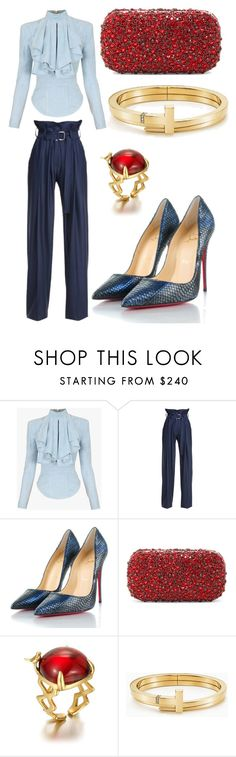"""""""Ruby cakes"""" by enigmaticstyled on Polyvore featuring Balmain, N-DUO, Christian Louboutin, Alice + Olivia and Tiffany & Co."""
