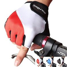 Fingerless Sports Mountain Bike Mittens Anti-skidding Summer Breathable Cycling Bicycle Gloves For Men , Red-XL , Red-XL *** More info could be found at the image url.