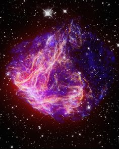 Supernova Remnant N49. This beautiful structure is the result of a violent stellar explosion. Some small portions of this Nova are so energized that they are expanding outward at 5 million miles an hour! Astrophysicists theorize that pockets of matter are able to reach this speed because of the extremely powerful magnetic fields generated by a central Neutron Star. Credit: NASA/Chandra Space Observatory