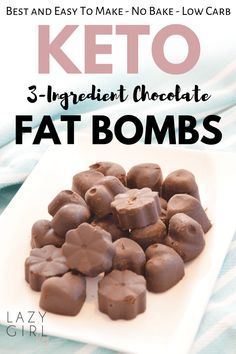 Chocolate Keto Fat Bombs (Low Carb, Vegan) – Lazy Girl These chocolate keto fat bombs are a great way to quickly curb cravings. Quick and easy homemade chocolate fat bombs – with just 3 ingredients and NO baking required! Keto Fat, Low Carb Keto, Low Carb Recipes, Healthy Recipes, Chili Recipes, Diet Recipes, Coconut Recipes, Healthy Food, Healthy Eating