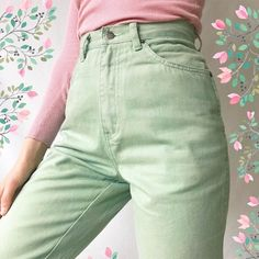 Buy Soft Pastel Candy Color Pencil Jeans with a discount. Shop for Aesthetic Clothing Accessories eGirl Outfits Soft Girl Apparel Grunge Vintage clothes Artsy Art Hoe Stuff Aesthetic Fashion, Aesthetic Clothes, Aesthetic Grunge, Aesthetic Girl, Girl Outfits, Cute Outfits, Casual Outfits, Pastel Fashion, Vintage Outfits