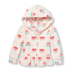 s Toddler Long Sleeve Rainbow Heart Print Glacier Fleece Ruffle Peplum Jacket - White - The Children's Place