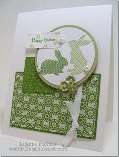 handmade Eater card .. monochromatic green ... bunnies ... Stampin' Up!