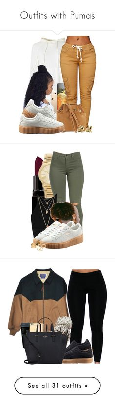 """Outfits with Pumas"" by barbiedatrillest ❤ liked on Polyvore featuring Puma, Vanessa Bruno, Han Cholo, Smashbox, Michael Kors, Forever 21, Pieces, Guerlain, Kate Spade and Illamasqua"