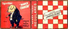 """Si hubo un mercado ingenioso y popular fue el de los cigarrillos. A diferencia de marcas de nombres esplendentes tales como """"El Futre"""", """"La Democracia"""", """"La Rusa"""" o """"El Patas Negras"""", los siempre ubicuos """"Marca Chancho"""" apelaron a una denominación menos pretenciosa bajo la filantrópica y ciertamente prometedora consigna """"Aseguramos que valen mucho más de lo que cuestan"""".  Año: circa 1920  Autor: Desconocido  Lugar: Valparaíso  Archivo: Diseño Nacional"""